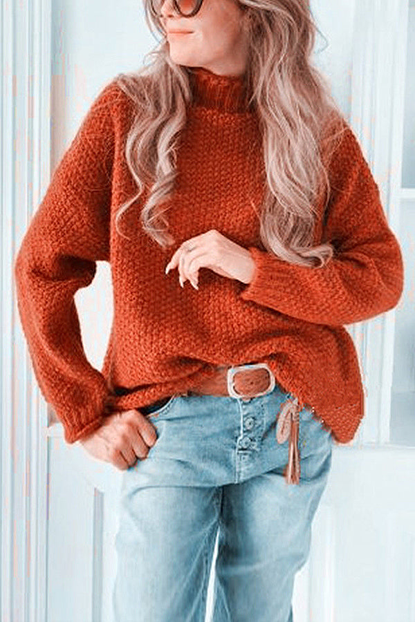 Solid Casual Half High Collar Sweater
