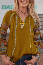 V Neck Long Sleeves Bohemian Printed Blouse