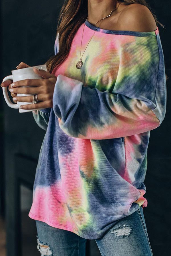 Paneled Gradient Print Casual Long Sleeves Blouse