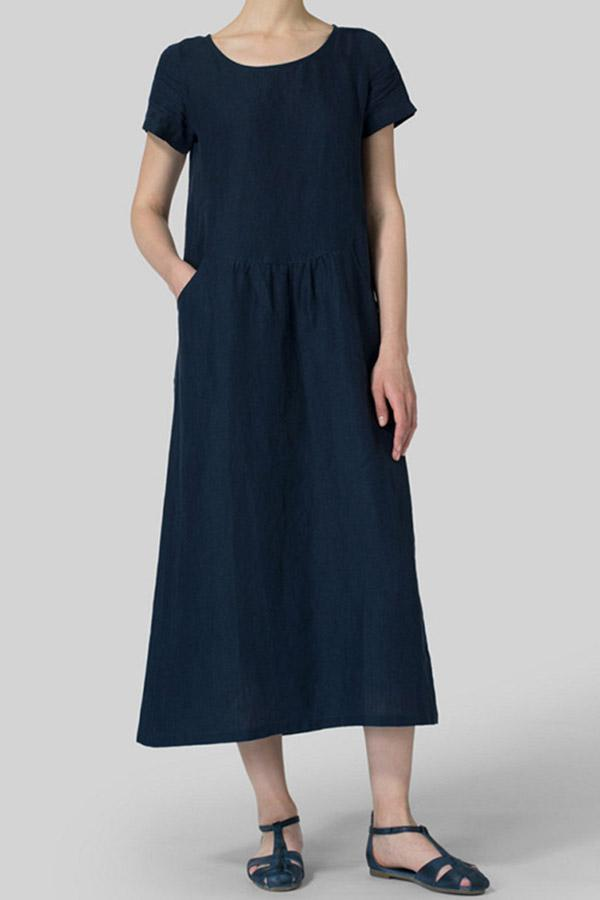Crew Neck Linen Casual Solid Midi Dress