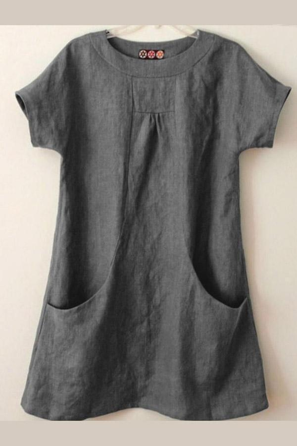 Solid Pockets Casual Loose T-shirts