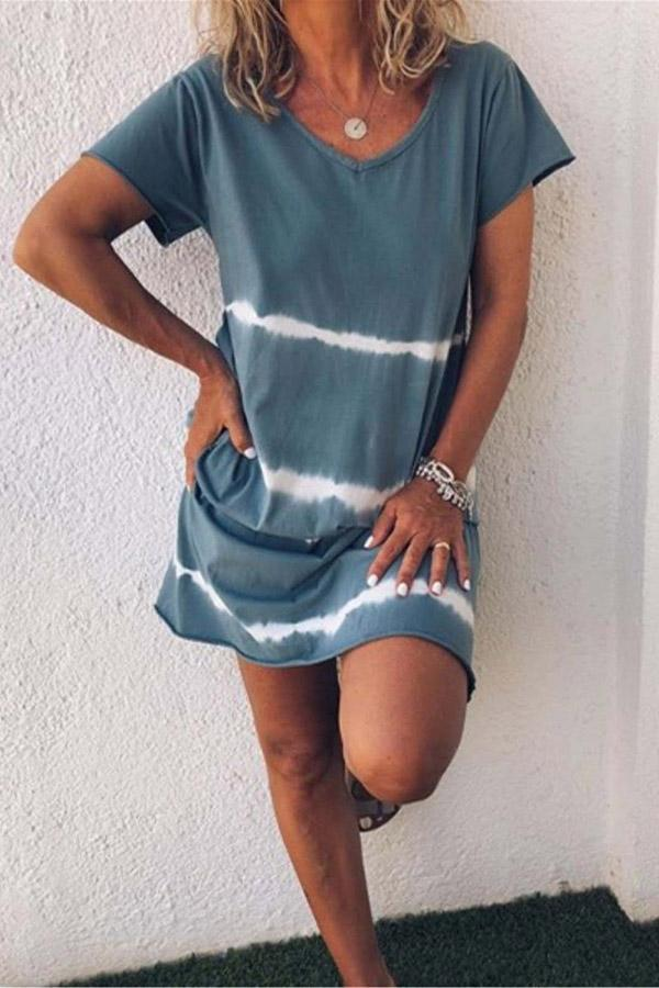 Casual Gradient Colorblock V-neck Mini Dress
