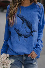 Two Lifelike Whale Swimming Print Casual T-shirt
