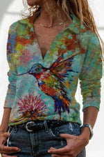 Women Colorful Gradient Lifelike Bird Print Sheath Retro Blouse