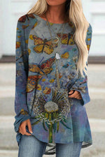 Casual Gradient Lifelike Butterfly Dandelion Print Raglan Sleeves T-shirt