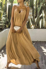 Casual Solid Holiday Pleated Backless Maxi Dress