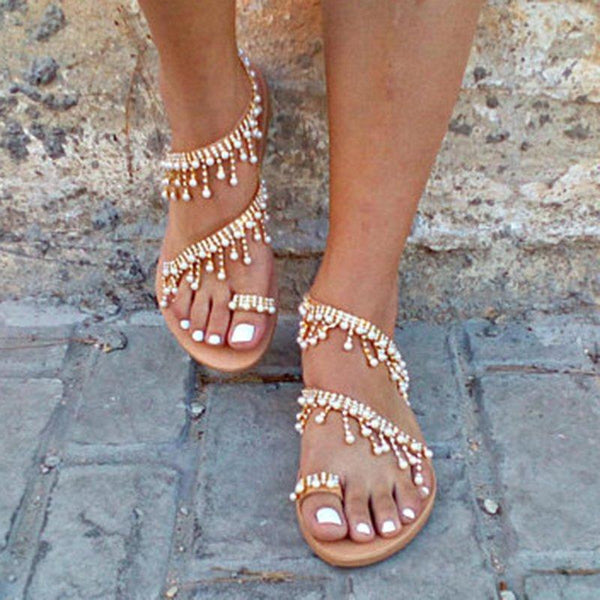 Women Handmade Beaded Flat Sandals