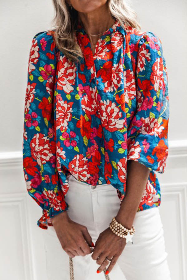 Bohemian Floral Print Buttons Down Paneled Holiday Blouse