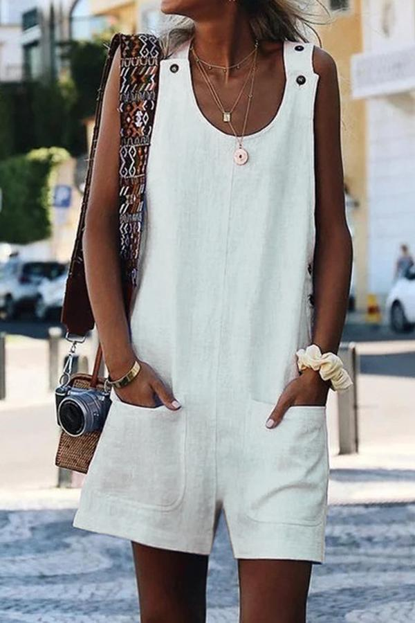 Linen Pockets Front Casual Jumpsuit