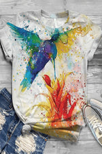 Gradient Bird Floral Print Casual Short Sleeves T-shirt