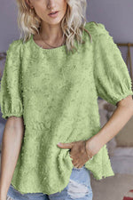 Casual Floral Appliqued Half Sleeves Paneled Blouse