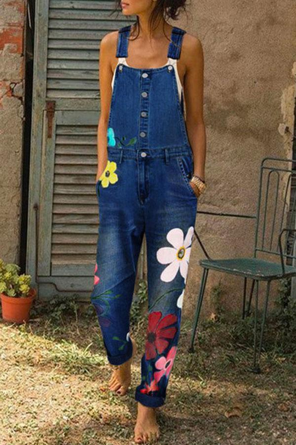 Floral Print Buttoned Pockets Casual Jumpsuit