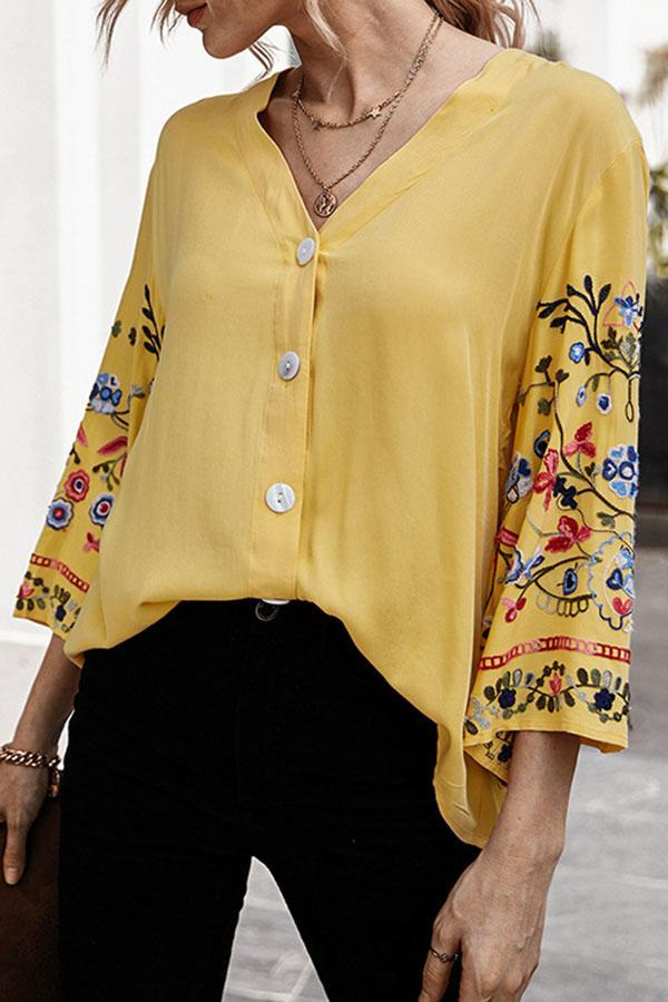 Floral Embroidery Paneled Buttoned V-neck Blouse