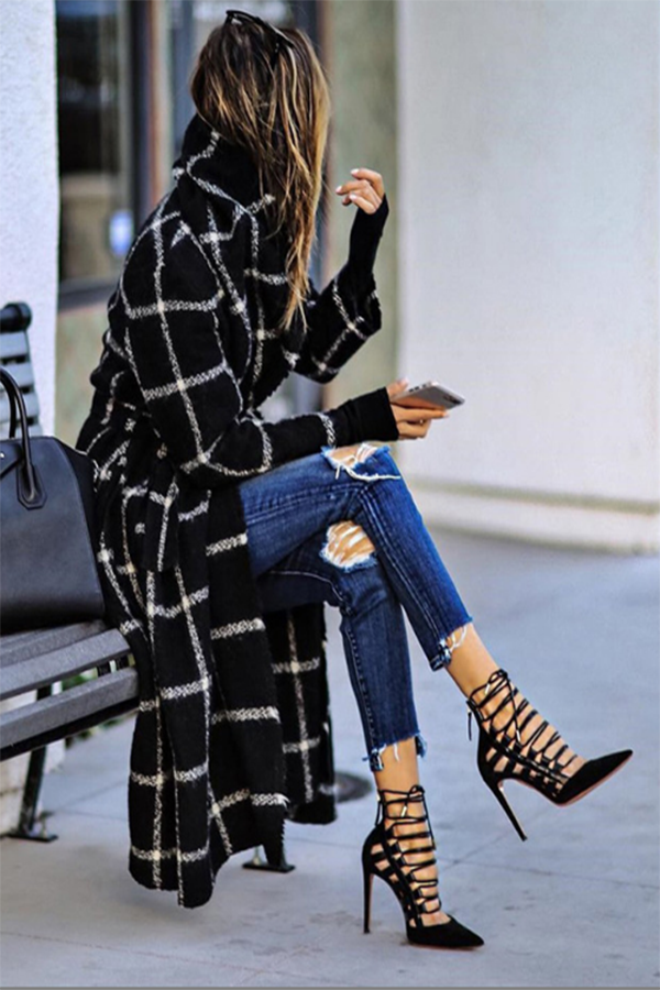 Street Plaid Jacquard Side Pockets Lapel Collar Long Coat
