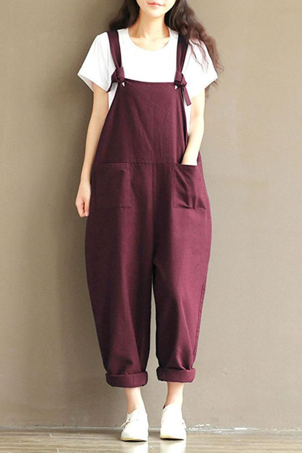 Spaghetti Casual Pockets Shift Jumpsuits