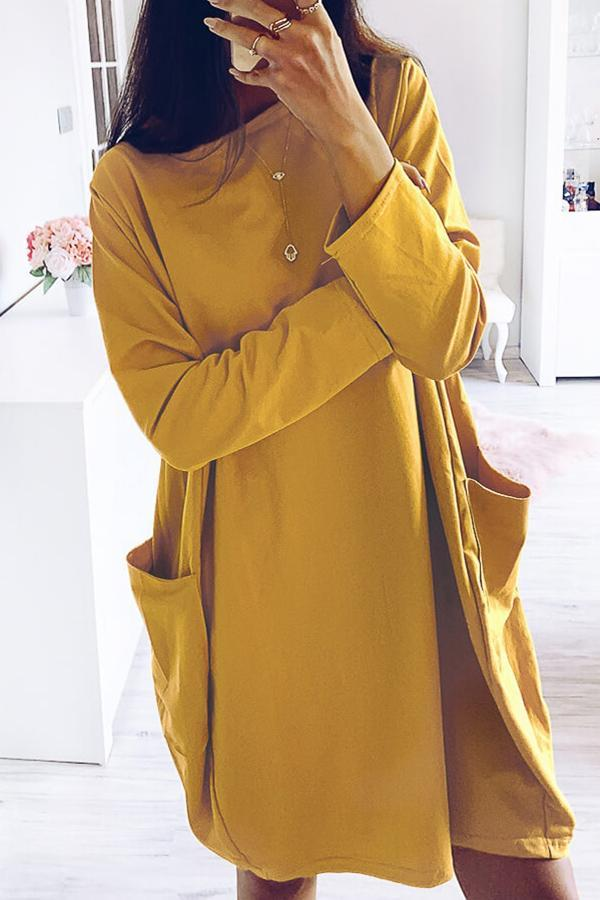 Round Neck Loose Side Pockets Solid Midi Dress