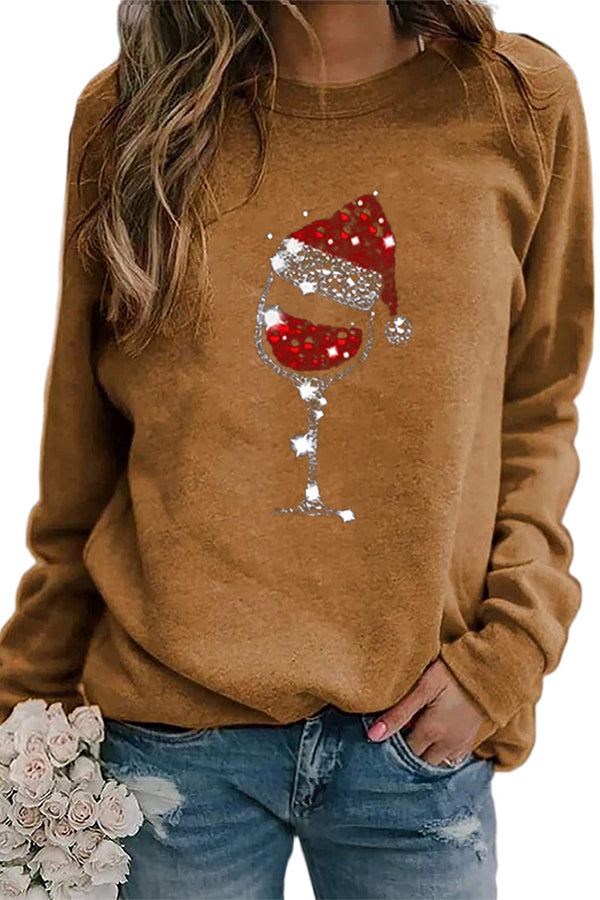 Shiny Red Wine Glass With Christmas Hat Print Casual T-shirt