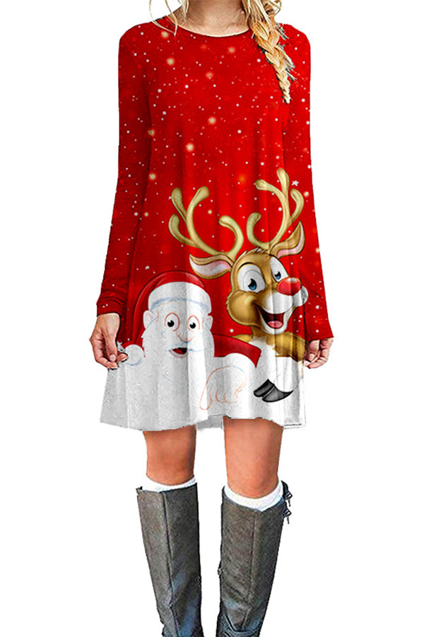 Cartoon Christmas Santa Claus Elk Snowing Print Holiday Mini Dress