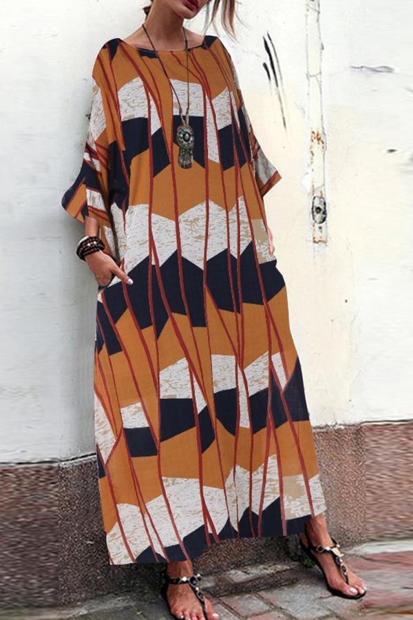 Casual Printed 3/4 Length Sleeves Oversize Maxi Dress