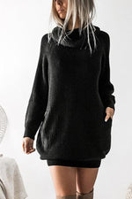 Long Sleeves Solid Pockets Cowl Neck Sweater Dress