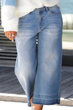 Casual  Solid Side PocketsWide Leg Jeans