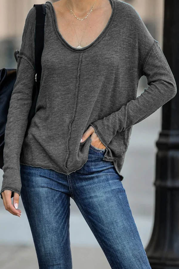 Casual Solid Paneled Crew Neck Long Sleeves T-shirt