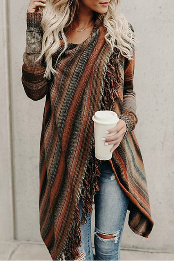 Colorblock Tassel Irregular Long Sleeves Cardigans
