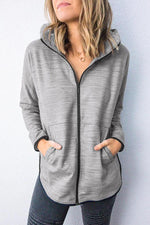 Casual Solid Zip Up Hoodie with Pockets