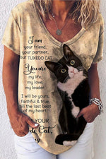 I Am Your Friend Your Partner You Are My Life My Love Letter Lovely Black Cat Print T-shirt