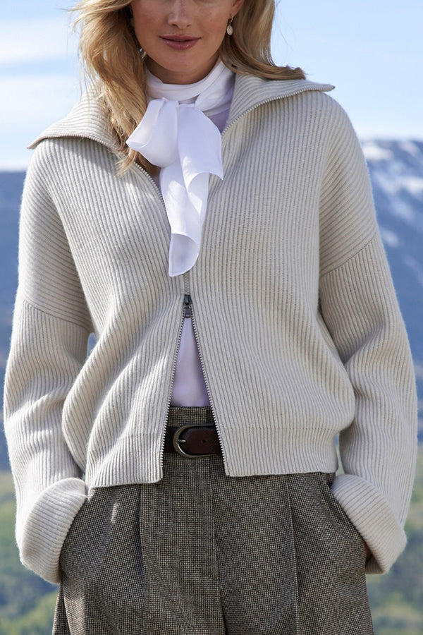 Temperament Knitted Striped Ribbed Zipper Front Shawl Collar Cropped Cardigan