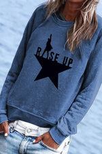 Paneled Hamilton Star Rise Up Print Casual Long Sleeves T-shirt
