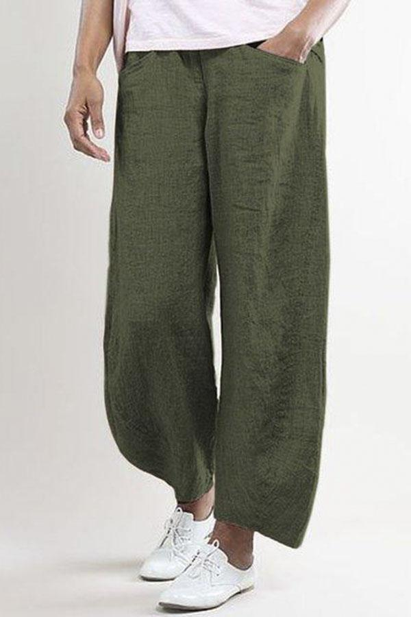Casual Wide Leg Shift  Pockets Solid Pants