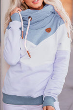 Candy Color Solid Color-block Drawstring Casual Hoodie