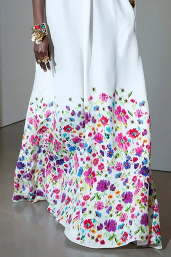 Floral Print Halter Neck Backless Party Maxi Dress