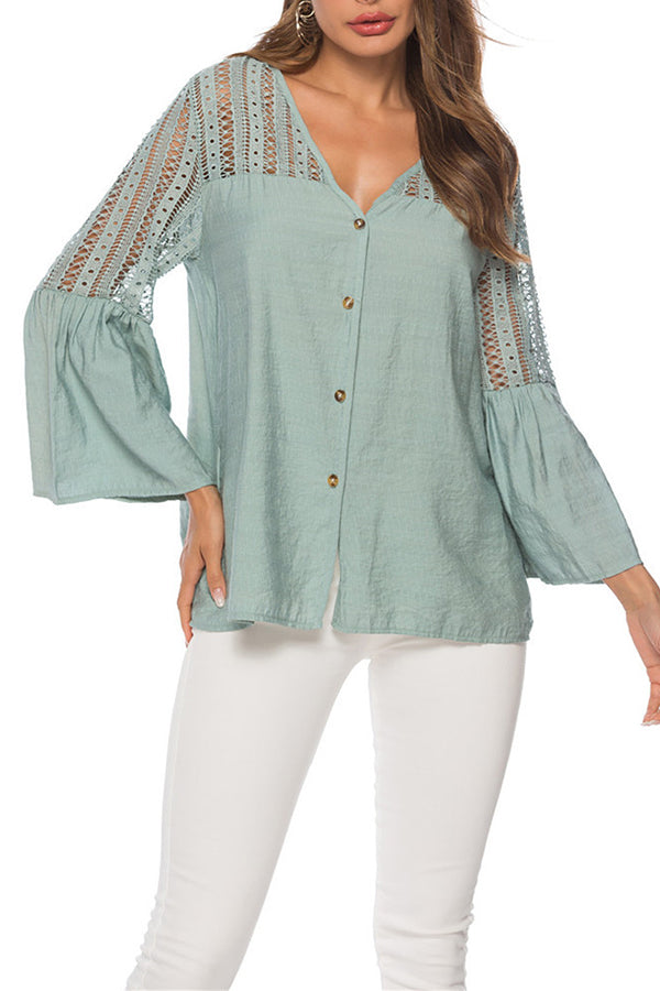 Elegant Paneled Lace Button Hollow Out Bell Sleeve Blouse