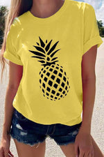 Pineapple Print Paneled Casual Short Sleeves T-shirt