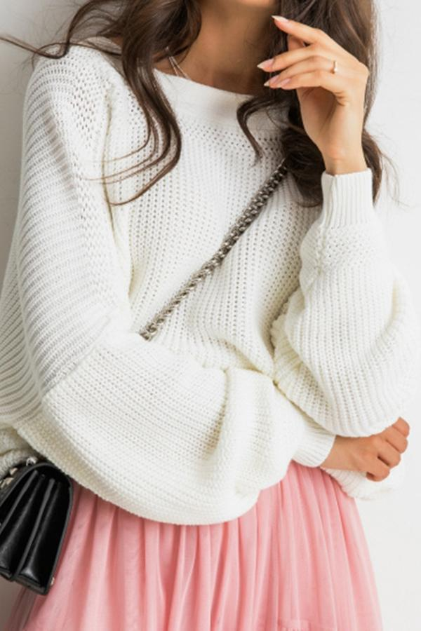 Backless Buttoned Ribbed Knitted Sweaters