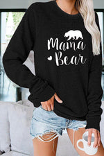 Mama Bear Letter Bear Heart Shaped Print Raglan Sleeves Classic T-shirt