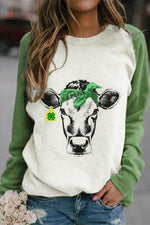 Lifelike Cow With Four Leaf Clover Print Color-block Casual Raglan Sleeves T-shirt