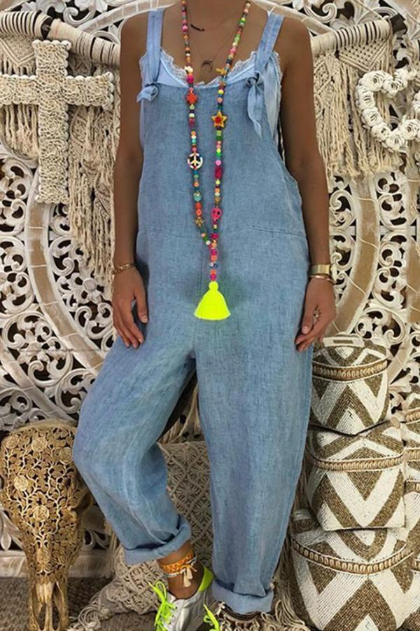 Casual Square Neck Sleeveless Denim Jumpsuit