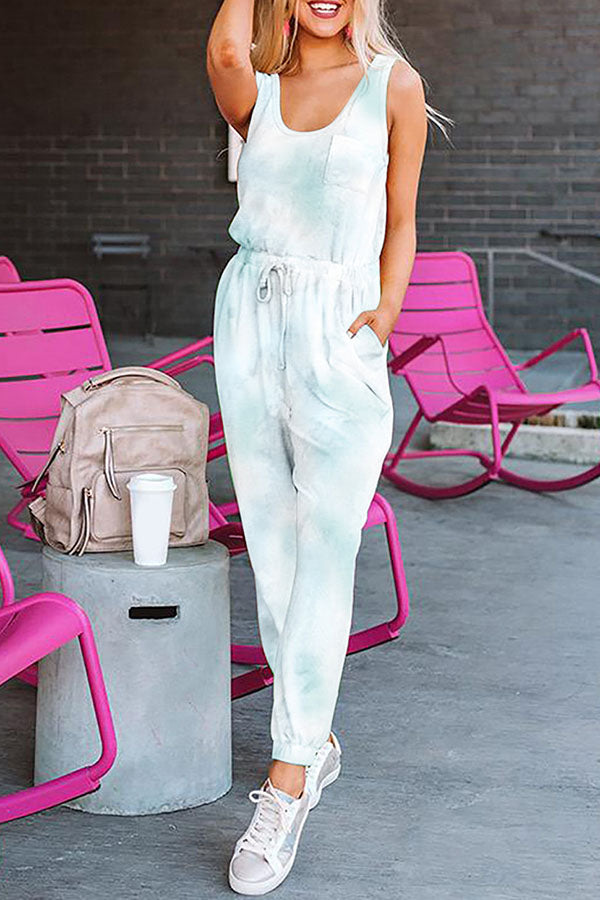 Gradient Print Sleeveless Self-tie Casual Pocket Jumpsuit