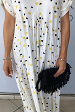 Casual  V Neck Print Irregular Maxi Dress