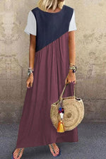 Casual Colorblock Short Sleeves Maxi Dress