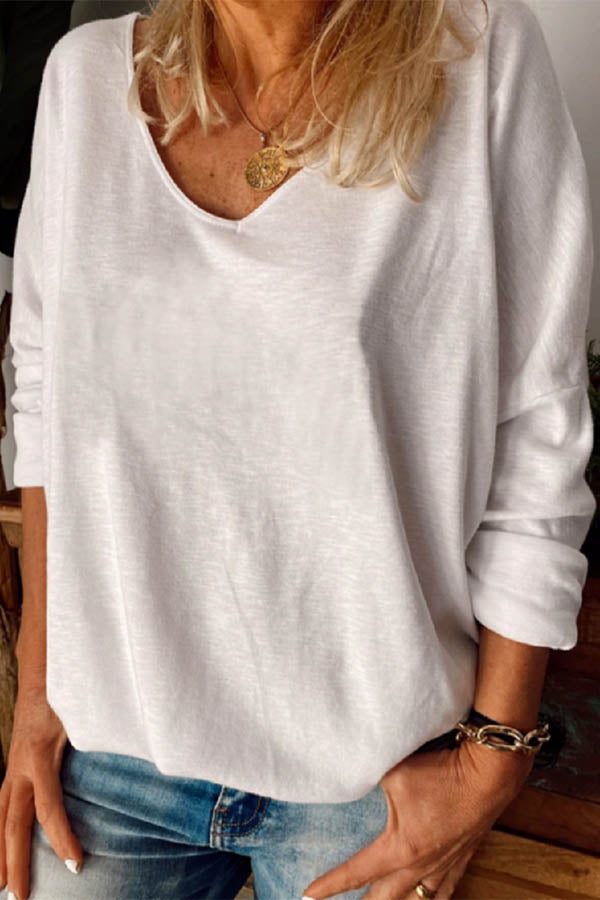 Solid Paneled V-neck Casual Long Sleeves T-shirt