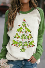 Cartoon Christmas Tree Made By smiling Frog Print Color-block T-shirt