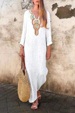 Geometric Embroidery V-neck Holiday Maxi Dress