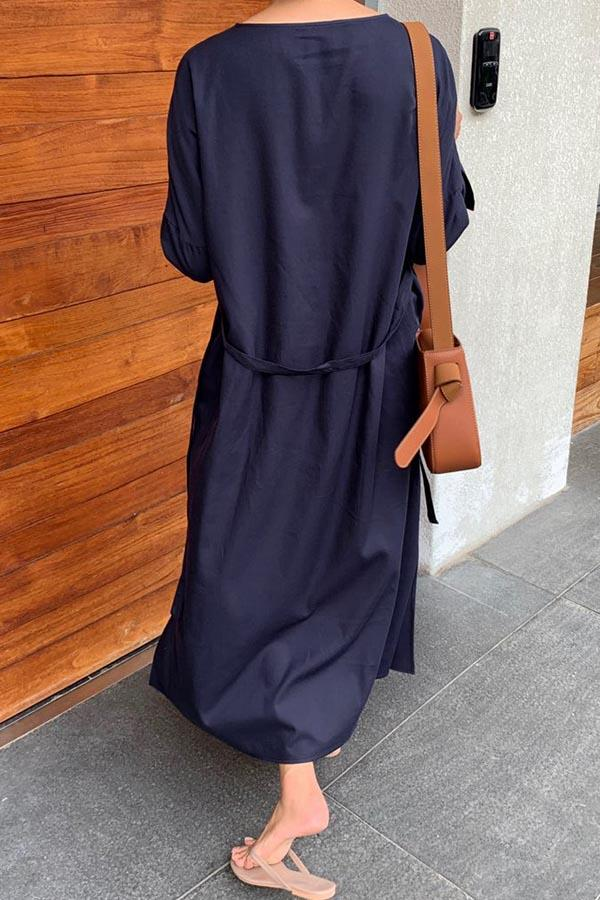 Solid Self-tie Shift Loose Slit Midi Dress