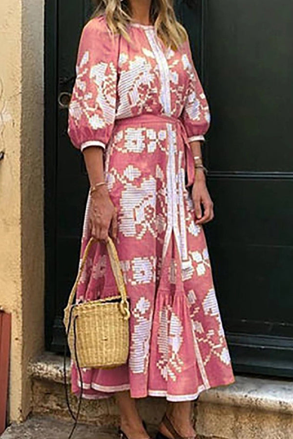 Casual Floral Half Sleeves Maxi Dress