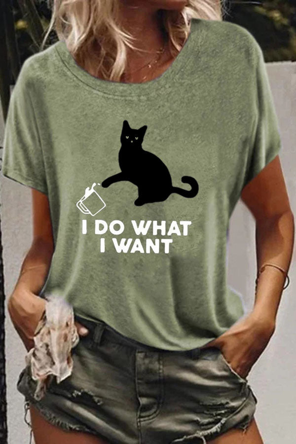 Casual Print Cat Short Sleeves T Shirt