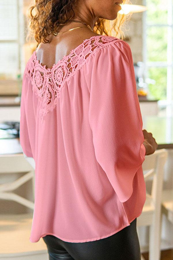 Paneled Floral Lace V-neck Cutout  Blouse